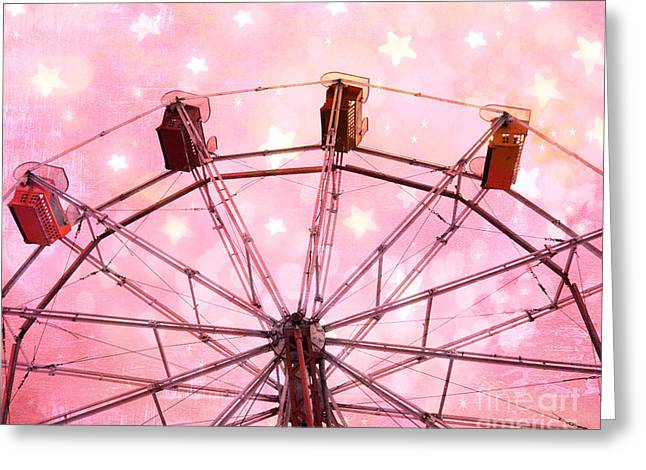 Baby Pink Greeting Cards - Dreamy Carnival Ferris Wheel Stars - Ferris Wheel Pink and White Fairytale Prints  Greeting Card by Kathy Fornal