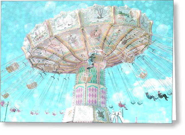 Surreal Ferris Wheel Greeting Cards - Dreamy Carnival Ferris Wheel Swing Ride Aqua Teal Blue Bokeh Circles and Hearts Greeting Card by Kathy Fornal