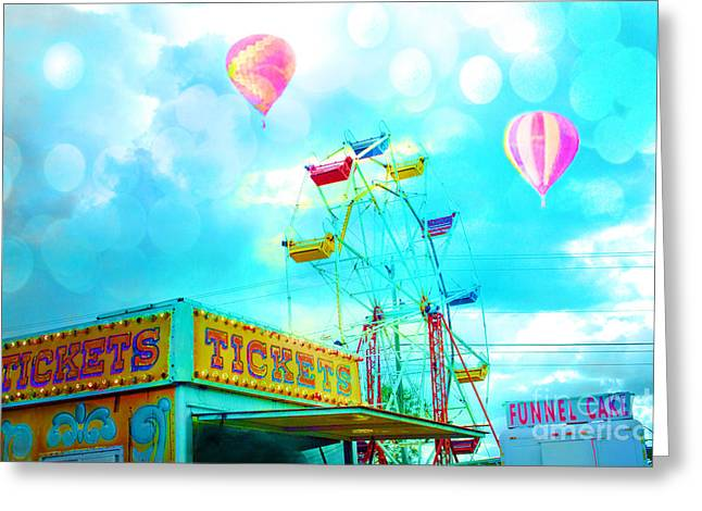 Carnival Fun Festival Art Decor Greeting Cards - Dreamy Carnival Ferris Wheel Ticket Booth Hot Air Balloons Teal Aquamarine Blue Festival Fair Rides Greeting Card by Kathy Fornal
