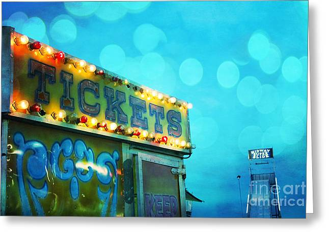 Festivals Fairs Carnival Photos Greeting Cards - Dreamy Carnival Festival Ticket Booth Stand - Teal Aquamarine Blue Carnival Festival Fun Slide Photo Greeting Card by Kathy Fornal