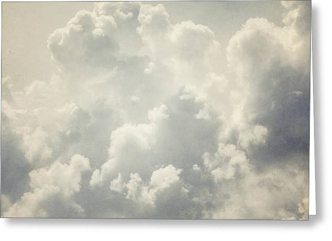Grey Clouds Greeting Cards - Dreamy Clouds in Shades of Grey and Slate Blue Greeting Card by Lisa Russo