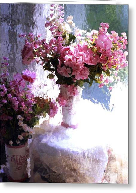 Floral Photos Greeting Cards - Dreamy Cottage Chic Impressionistic FLowers - Pink Roses Pink Vases Greeting Card by Kathy Fornal