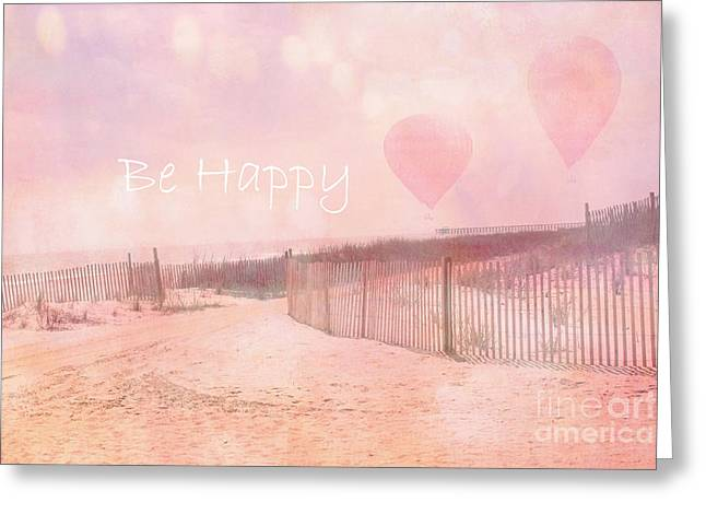 Pale Pink Coastal Photos Greeting Cards - Dreamy Cottage Chic Summer Beach Typography Greeting Card by Kathy Fornal