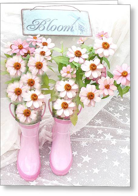 Dreamy Cottage Garden Art - Shabby Chic Pink Flowers Garden Bloom With Pink Rain Boots Greeting Card by Kathy Fornal