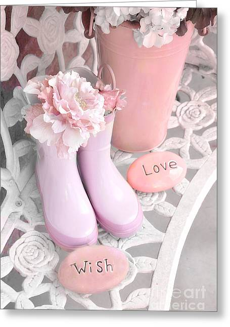 Wellie Greeting Cards - Dreamy Cottage Garden Shabby Chic Pink Boots and Garden Pot - Inspirational Stones Love Wish  Greeting Card by Kathy Fornal