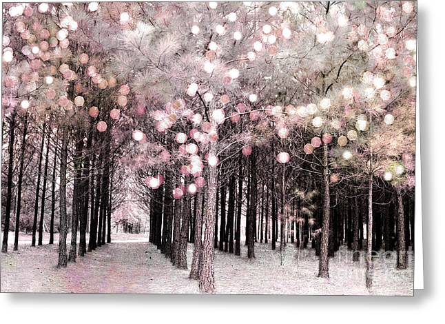 Dreamy Cottage Shabby Chic Pastel Nature Photography - Fairytale Fantasy Woodlands Pink Forest Greeting Card by Kathy Fornal