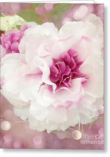 Photographs Of Flowers Greeting Cards - Dreamy Cottage Shabby Chic Pink and White Soft Ethereal Fluffy Rose Floral Art Impressionistic  Greeting Card by Kathy Fornal