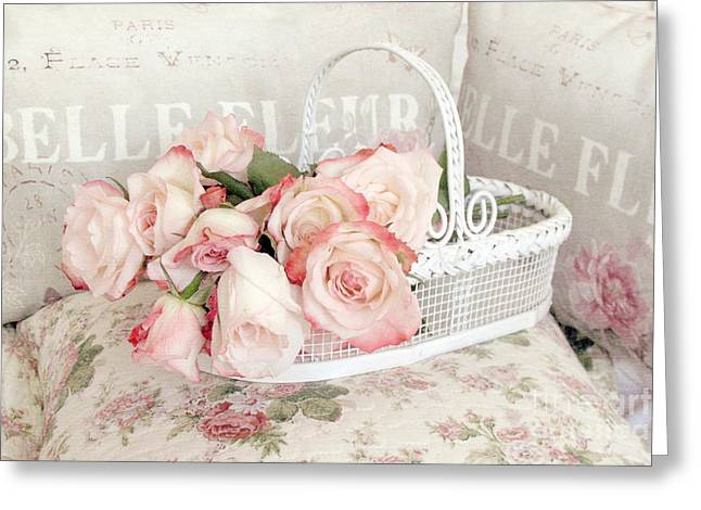 Home Decor Photography Greeting Cards - Dreamy Cottage Shabby Chic Pink Roses In White Basket - Belle Fleur French Roses Greeting Card by Kathy Fornal