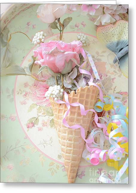Pink Food Photography Greeting Cards - Dreamy Cottage Shabby Chic Romantic Floral Art With Waffle Cone and Party Ribbons Greeting Card by Kathy Fornal