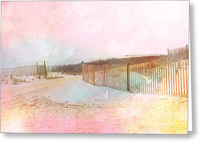 Pale Pink Coastal Photos Greeting Cards - Dreamy Cottage Summer Beach Ocean Coastal Art Greeting Card by Kathy Fornal