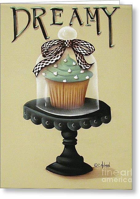 Primitive Greeting Cards - Dreamy Cupcake Greeting Card by Catherine Holman