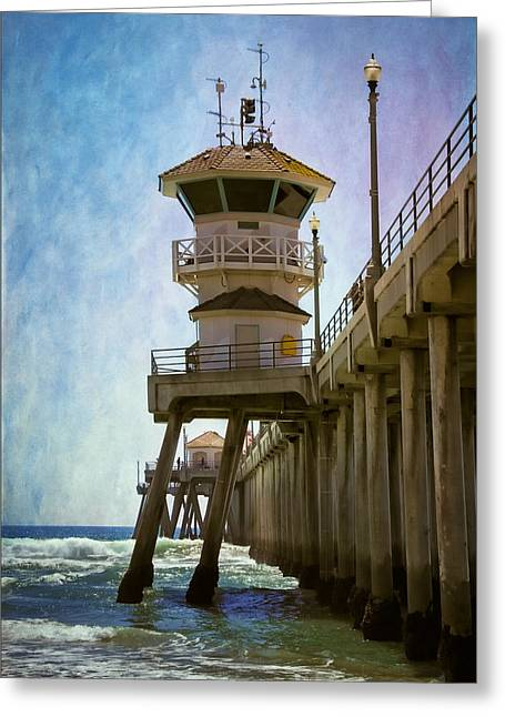 Octagon Greeting Cards - Dreamy Day at Huntington Beach Pier Greeting Card by Joan Carroll