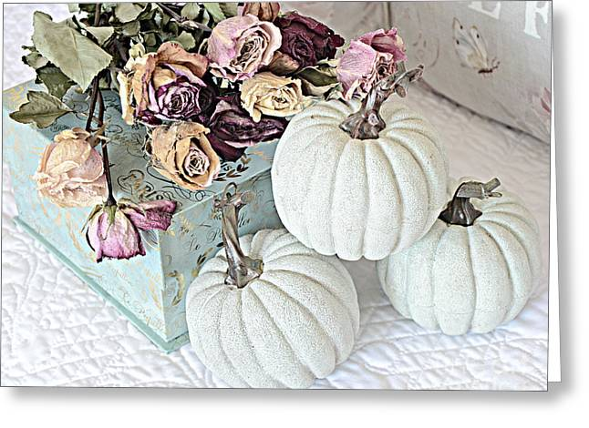 Photos Of Autumn Greeting Cards - Dreamy Dried Roses Shabby Chic Cottage Autumn Fall Pastel Pumpkin Art  Greeting Card by Kathy Fornal