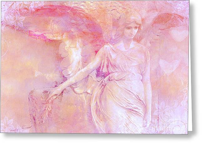 Sculpture Art Greeting Cards - Dreamy Ethereal Angel Photography - Ethereal Pink Angel With White Hearts Greeting Card by Kathy Fornal