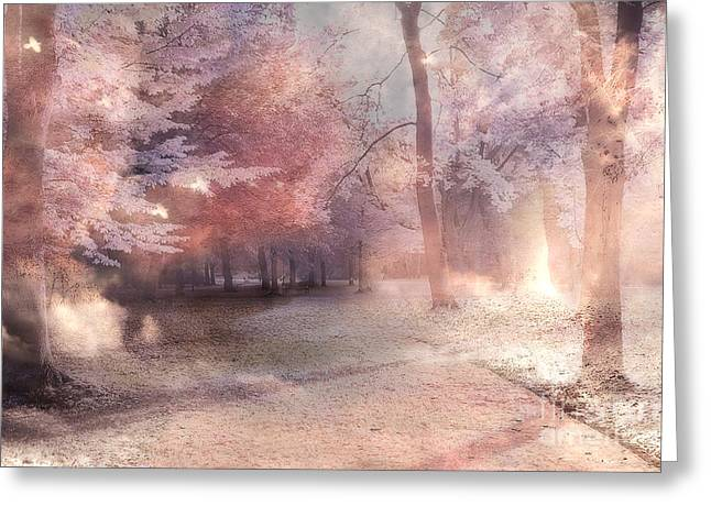 Fantasy Tree Greeting Cards - Dreamy Fantasy Surreal Pastel Tree Landscape Greeting Card by Kathy Fornal