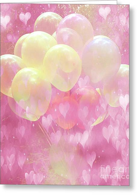 Baby Pink Greeting Cards - Dreamy Fantasy Whimsical Yellow Pink Balloons With Hearts  Greeting Card by Kathy Fornal