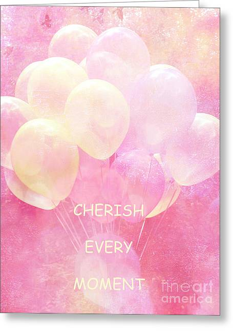Kid Photographs Greeting Cards - Dreamy Fantasy Whimsical Yellow Pink Balloons With Hearts - Typography Quote - Cherish Every Moment Greeting Card by Kathy Fornal