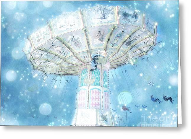 Carnival Art Greeting Cards - Dreamy Ferris Wheel Baby Boy Blue Carnival Festival Photo - Baby Blue Ferris Wheel Blue Starry Skies Greeting Card by Kathy Fornal
