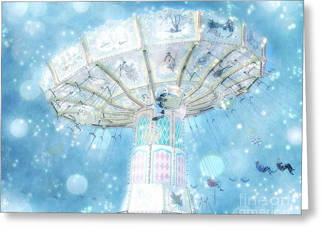 Festivals Fairs Carnival Photos Greeting Cards - Dreamy Ferris Wheel Baby Boy Blue Carnival Festival Photo - Baby Blue Ferris Wheel Blue Starry Skies Greeting Card by Kathy Fornal