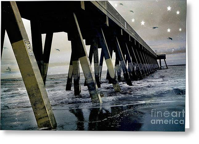Dreamy Haunting Ocean Coastal Pier With Stars and Birds Greeting Card by Kathy Fornal