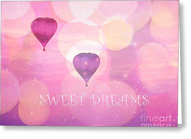 Hot Pink Ferris Wheel Photos Greeting Cards - Dreamy Hot Air Balloons Whimsical Baby Child Nursery Room Art-Inspirational Art-Sweet Dreams Greeting Card by Kathy Fornal