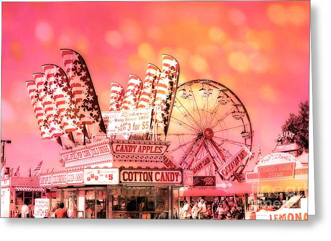 Festivals Fairs Carnival Photos Greeting Cards - Surreal Hot Pink Orange Carnival Festival Cotton Candy Stand Candy Apples Ferris Wheel Art Greeting Card by Kathy Fornal