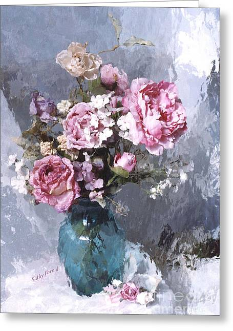 Pink Flower Prints Greeting Cards - Dreamy Impressionistic Cabbage Roses in Aqua Vase - French Flower Market Paris Romantic Floral Art Greeting Card by Kathy Fornal