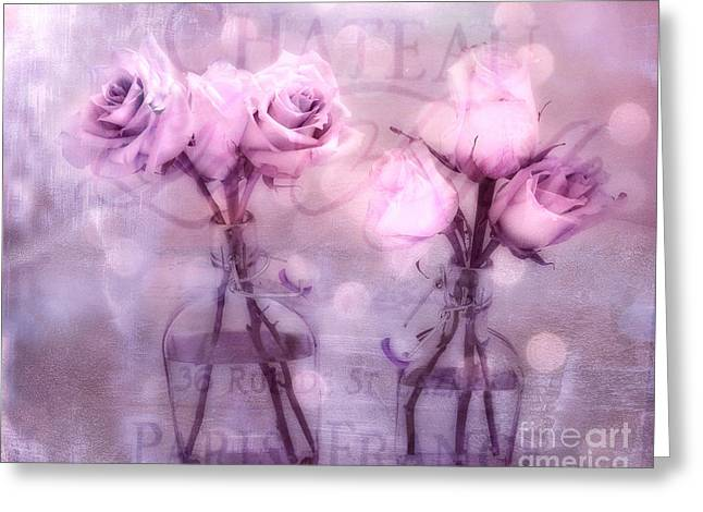 Belles Photographs Greeting Cards - Dreamy Impressionistic Cottage Chic Pink and Purple Roses - French Inspired Pink Roses In Vase Greeting Card by Kathy Fornal