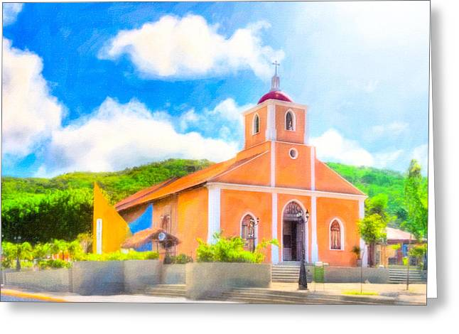 Tangerine Greeting Cards - Dreamy Little Church In The Tropical Sun Greeting Card by Mark Tisdale