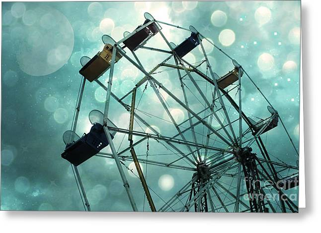 Ferris Wheel Greeting Cards - Dreamy Mint Green Teal Carnival Ferris Wheel With Moon and Bokeh Circles  Greeting Card by Kathy Fornal