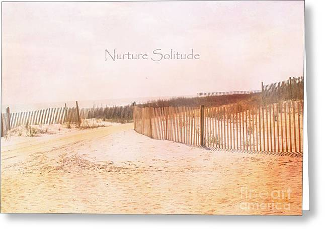 Dreamy Pale Cottage Summer Beach Typography  Greeting Card by Kathy Fornal