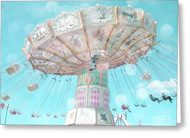 Festivals Fairs Carnival Photos Greeting Cards - Dreamy Pastel Aqua Blue Teal Ferris Wheel Swing Ride Carnival Art - Pastel Kids Room Carnival Decor Greeting Card by Kathy Fornal