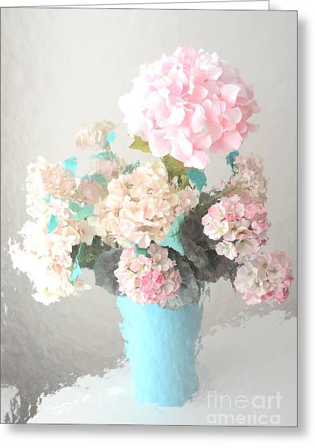 Cottages Photographs Greeting Cards - Shabby Chic Cottage Pink and Aqua Teal Impressionistic Shabby Chic Cottage Romantic Floral Bouquet  Greeting Card by Kathy Fornal