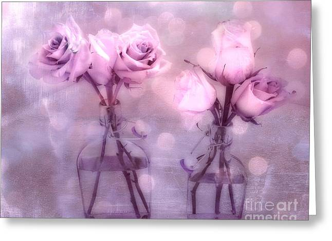 Romantic Roses Photography Greeting Cards - Dreamy Pink and Purple Cottage Floral Shabby Chic Roses - Impressionistic Romantic Pink Floral Art  Greeting Card by Kathy Fornal