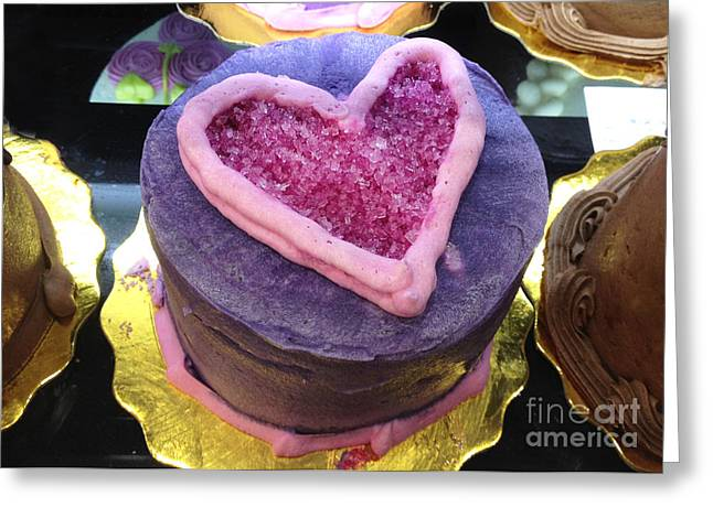 Pink Food Photography Greeting Cards - Dreamy Pink and Purple Cottage Romantic Heart Cake - Valentine Hearts Cake Art Decor Greeting Card by Kathy Fornal
