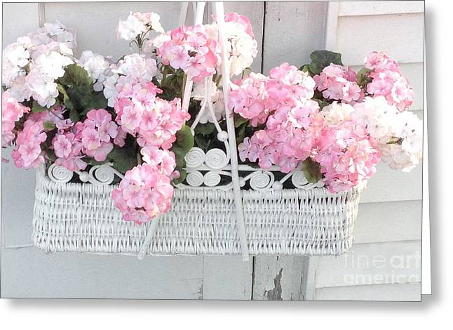 Dreamy Pink Floral Art Greeting Cards - Dreamy Pink and White Hydrangeas In Hanging Basket - Shabby Chic Cottage Hydrangea Romantic Flowers Greeting Card by Kathy Fornal