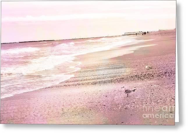 Calming Ocean Waves Greeting Cards - Dreamy Pink Beach Ocean Coastal Wrightsville Beach North Carolina Beach Ocean Art Greeting Card by Kathy Fornal