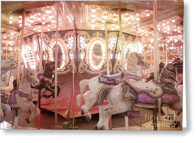 Festivals Fairs Carnival Photos Greeting Cards - Dreamy Pink Carnival Carousel Merry Go Round Horses Festival Carousel Horses Sparkling Lights Greeting Card by Kathy Fornal