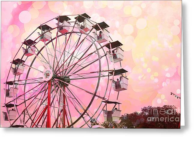 Surreal Ferris Wheel Greeting Cards - Dreamy Pink Carnival Ferris Wheel Festival Fair Rides - Surreal Pink and Yellow Circus Carnival Art Greeting Card by Kathy Fornal