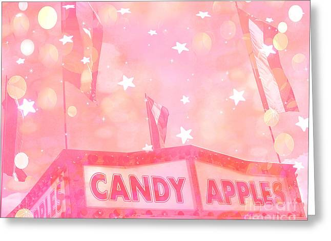 Carnival Fun Festival Art Decor Greeting Cards - Dreamy Pink Carnival Festival Fair Candy Apples Stand With Stars and Circles  Greeting Card by Kathy Fornal