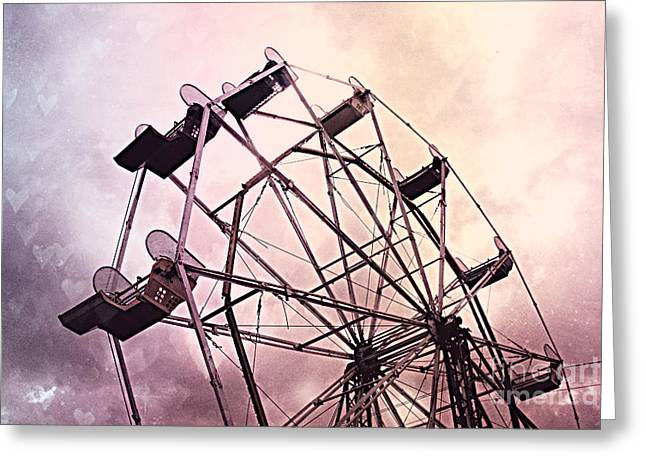 Ferris Greeting Cards - Dreamy Pink Lavender Baby Girl Nursery Ferris Wheel - Carnival Fair Ferris Wheel With Hearts Greeting Card by Kathy Fornal