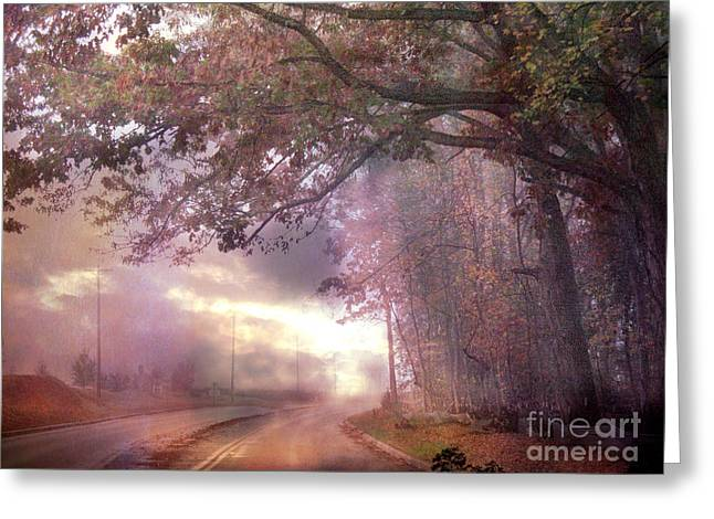 Dreamy Pink Nature Landscape - Surreal Foggy Scenic Drive Nature Tree Landscape  Greeting Card by Kathy Fornal