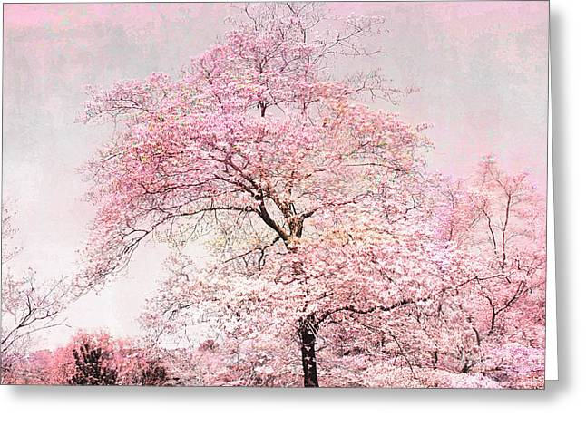 Pastel Pink Greeting Cards - Dreamy Pink Pastel Cottage Shabby Chic Nature Tree Landscape - Fantasy Pink Cottage Trees Nature  Greeting Card by Kathy Fornal