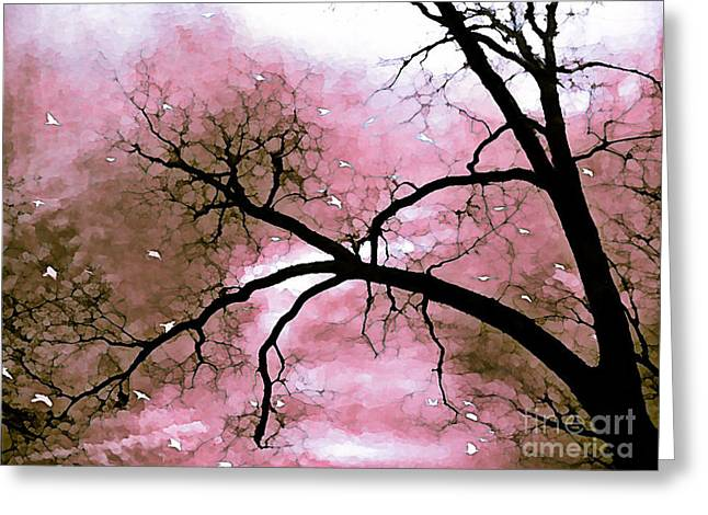 Fantasy Art Greeting Cards - Dreamy Pink Surreal Trees Fantasy Nature Greeting Card by Kathy Fornal
