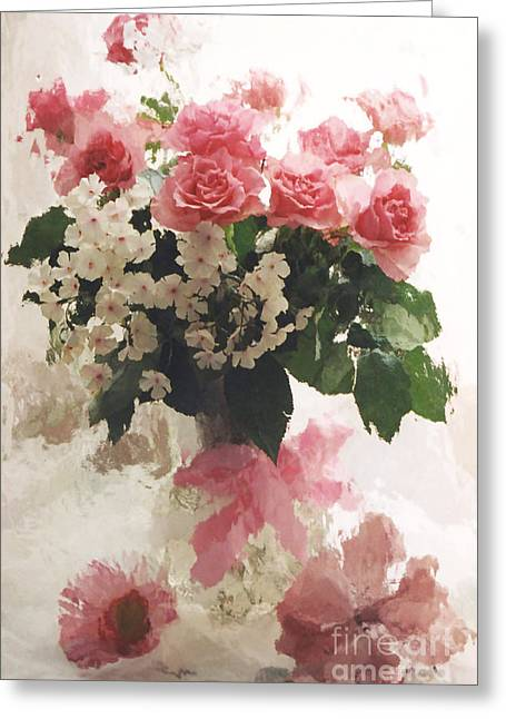 Floral Prints Greeting Cards - Dreamy Pink White Roses in Vintage Antique Vase Greeting Card by Kathy Fornal