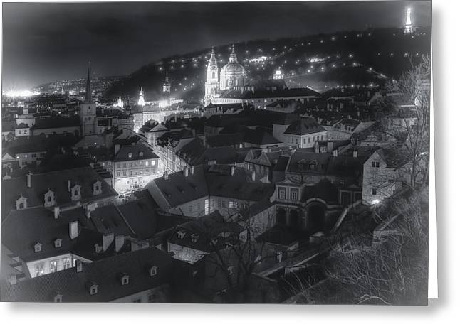 Winter Night Greeting Cards - Dreamy Prague Christmas Greeting Card by Joan Carroll
