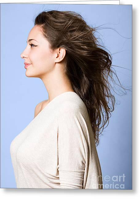 Side-swept Hair Greeting Cards - Dreamy profile portrait. Greeting Card by Alstair Thane
