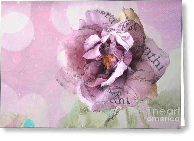 Romantic Roses Photography Greeting Cards - Dreamy Purple Impressionistic Romantic Shabby Chic Cottage Purple and Pink Ethereal Floral Art Greeting Card by Kathy Fornal