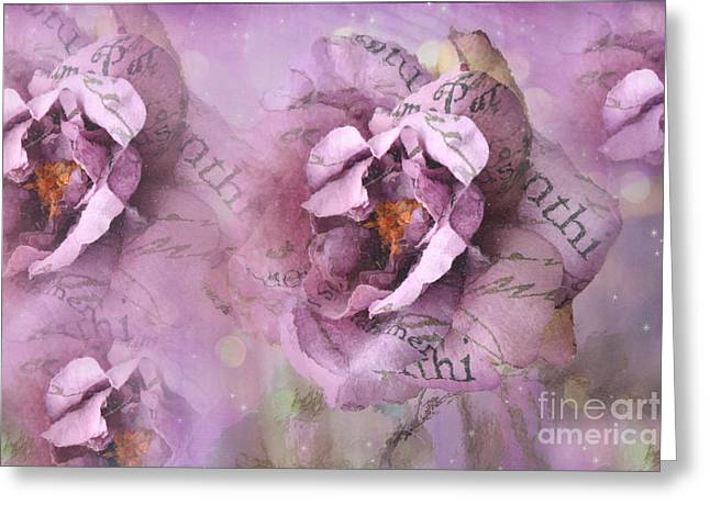 Purple Roses Greeting Cards - Dreamy Purple Lavender Impressionistic Abstract Floral Art Photography Greeting Card by Kathy Fornal