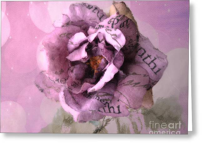 Romantic Roses Photography Greeting Cards - Dreamy Purple Pink Impressionistic Romantic Shabby Chic Cottage Purple Lavender Rose Floral Art Greeting Card by Kathy Fornal